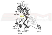 Mitsubishi OEM Timing Belt Tensioner Pulley Diagram for 2G DSM Image © STM Tuned Inc.  Part Number MD182537