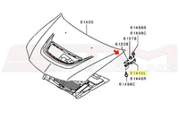 OEM Mitsubishi LH Hood Hinge for Evo 7/8/9 Part Number MR487633 Image © STM Tuned Inc.
