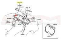 Mitsubishi OEM Rear Deck Speaker Cover Diagram (RH) for Evo 7/8/9 Image © STM Tuned Inc. Part Number MR631996