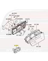 Mitsubishi OEM Dash Gauge Cluster and Clock Diagram for Evo 7/8/9