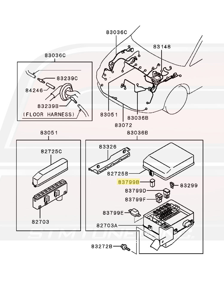 MU000432 Mitsubishi OEM Fuse Box 40A Green Switch for Evo 8/9