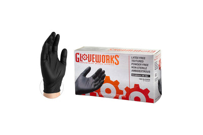 AMMEX Gloveworks Black Nitrile Shop Gloves
