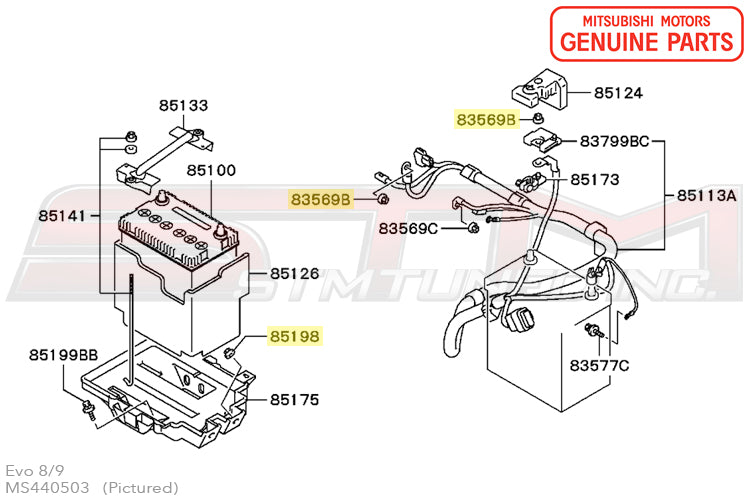 ms440503 oem mitsubishi evo 7 8 9 battery tray and wiring nut. Black Bedroom Furniture Sets. Home Design Ideas
