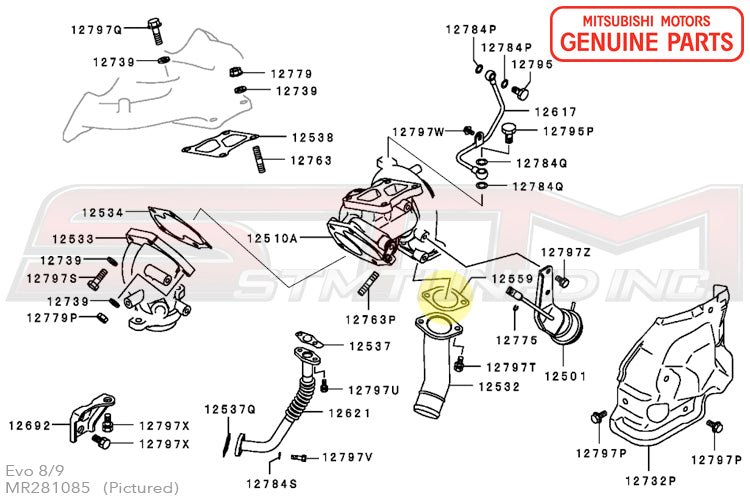 mr281085 j pipe turbo outlet gasket oem evo 4 5 6 7 8 9 x rh stmtuned com Piping Diagram Symbols Valves Hot Water Piping Diagrams