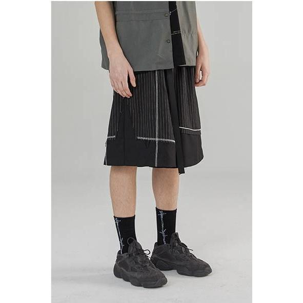 Deconstructed Stripe Shorts - Aesthetic Homage  | Techwear | Noragi | Lhamo | Men's Kimono