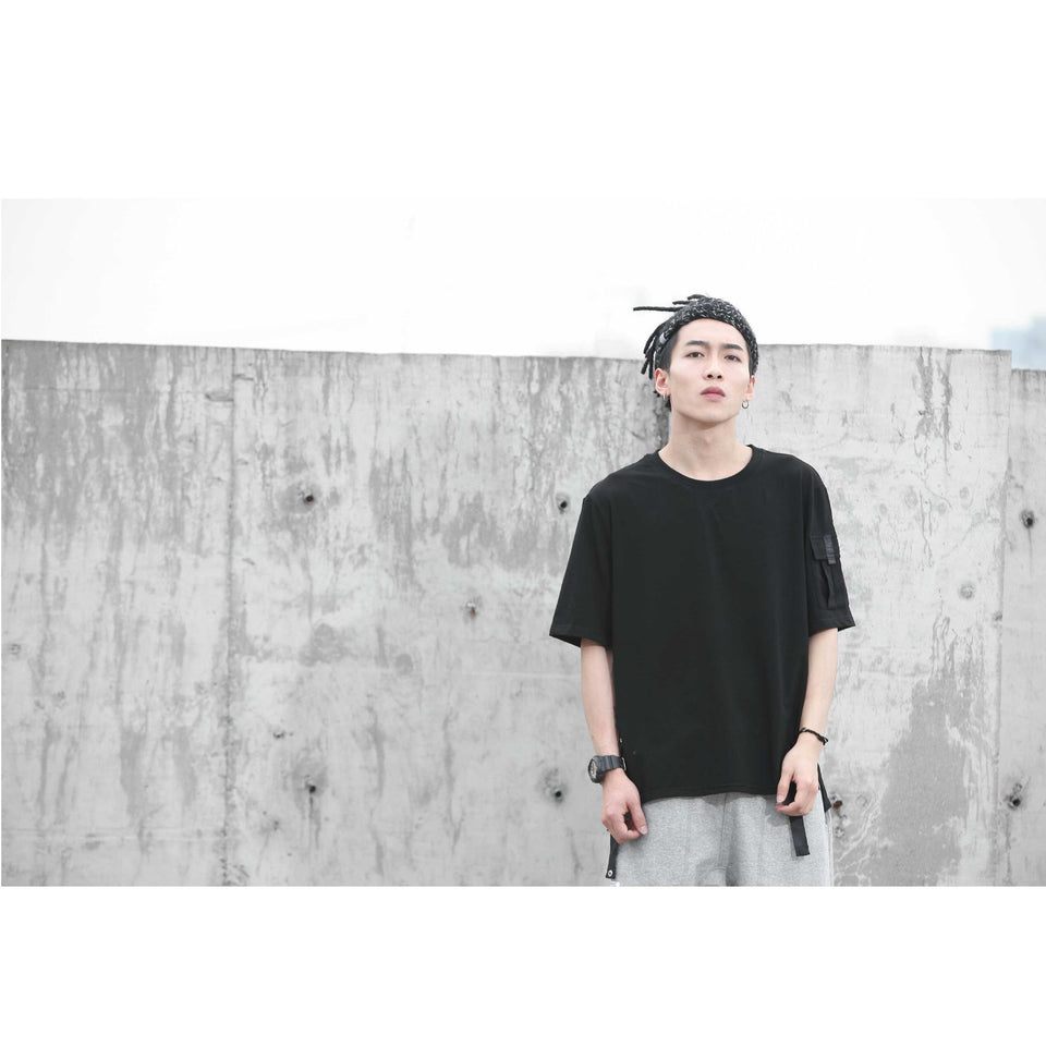 Black Pocket Tee - Aesthetic Homage  | Techwear | Noragi | Lhamo | Men's Kimono