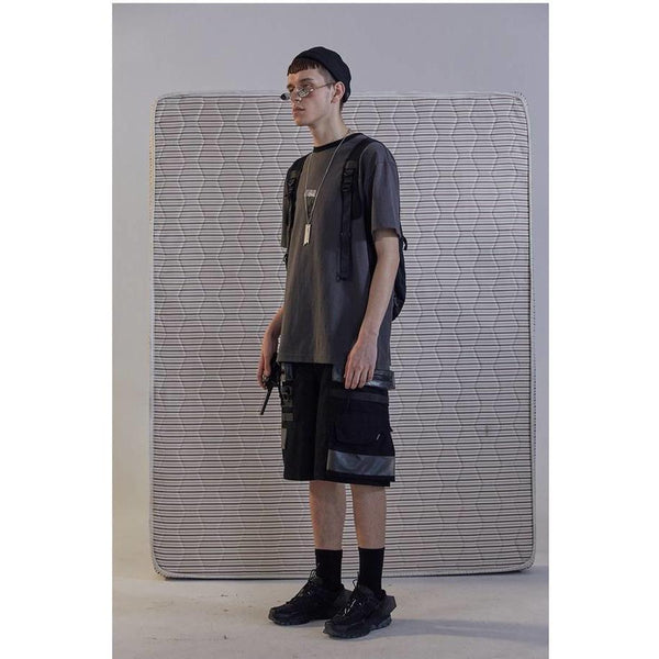 AN-CRA73 PVC Pocket Shorts - Aesthetic Homage  | Techwear | Noragi | Lhamo | Men's Kimono