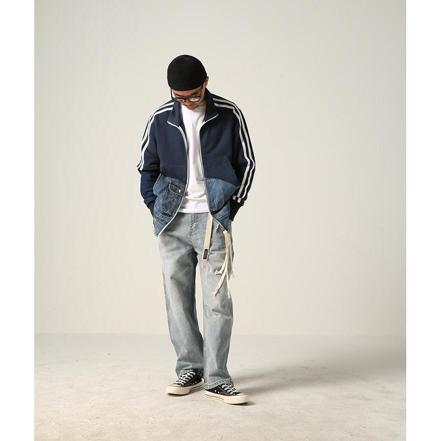 Denim Split Track Jacket - Aesthetic Homage  | Techwear | Noragi | Lhamo | Men's Kimono
