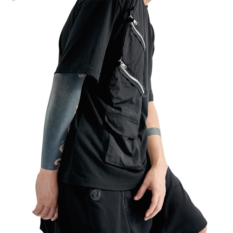 Double Zip Pannel T-Shirt - Aesthetic Homage  | Techwear | Noragi | Lhamo | Men's Kimono