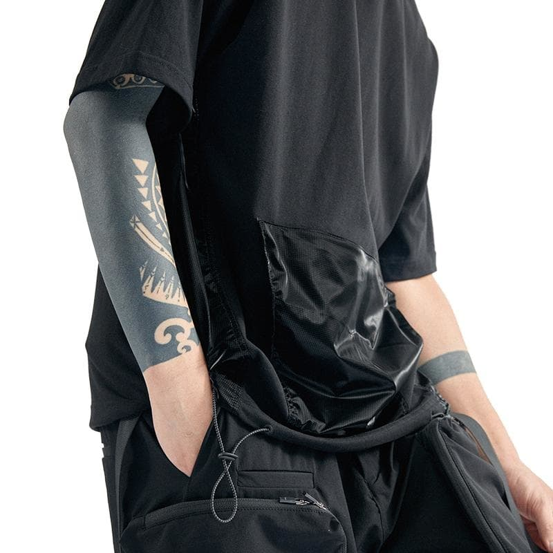 Drawstring Pocket T-Shirt - Aesthetic Homage  | Techwear | Noragi | Lhamo | Men's Kimono