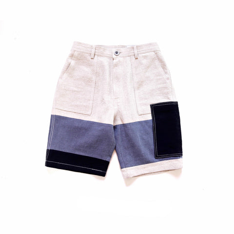 Patchwork French Workwear Shorts - Aesthetic Homage | Noragi | Lhamo