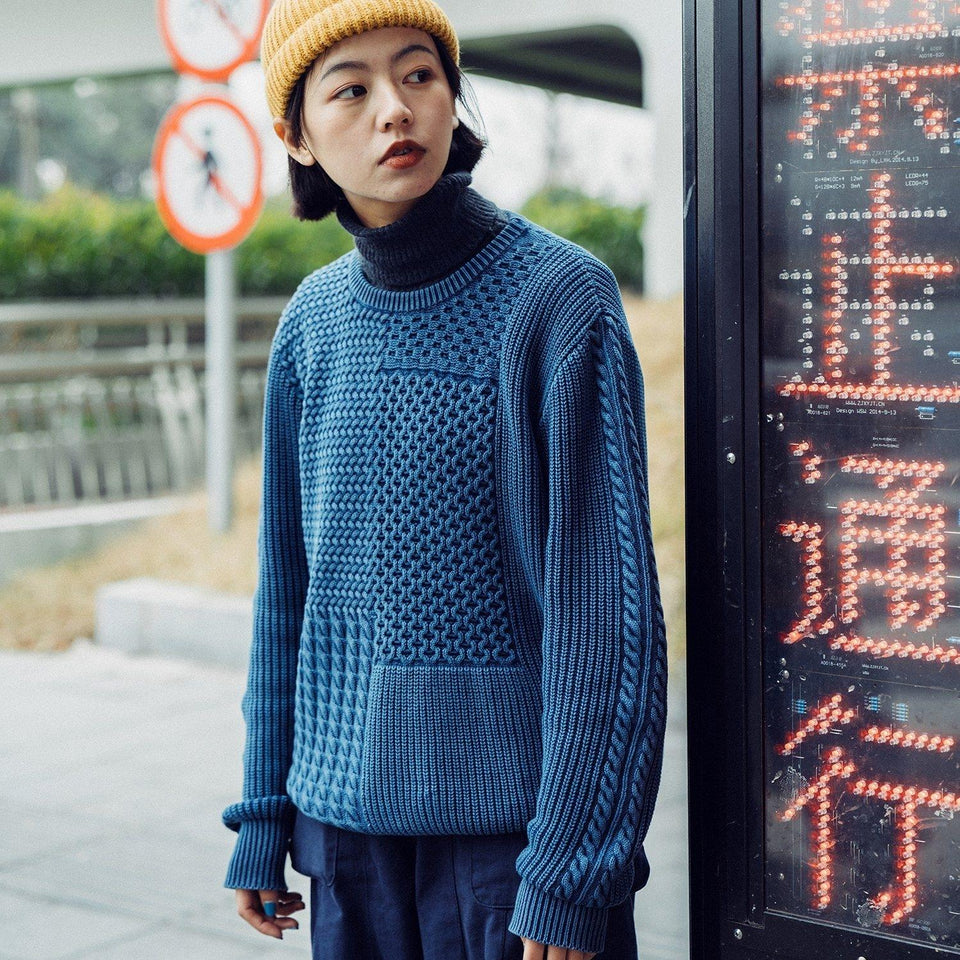 Indigo  Knit Sweater - Aesthetic Homage  | Techwear | Noragi | Lhamo | Men's Kimono