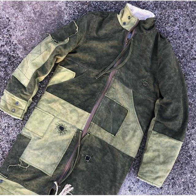 Suede Patchwork Field Jacket - Aesthetic Homage  | Techwear | Noragi | Lhamo | Men's Kimono