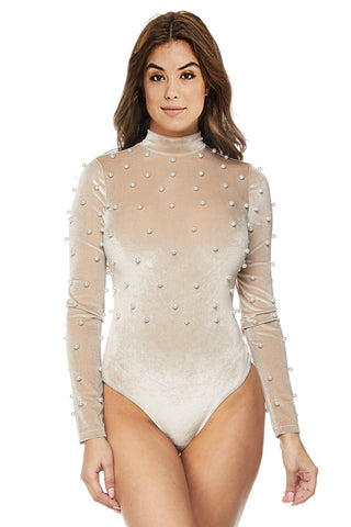 Body Suit top with Pearls