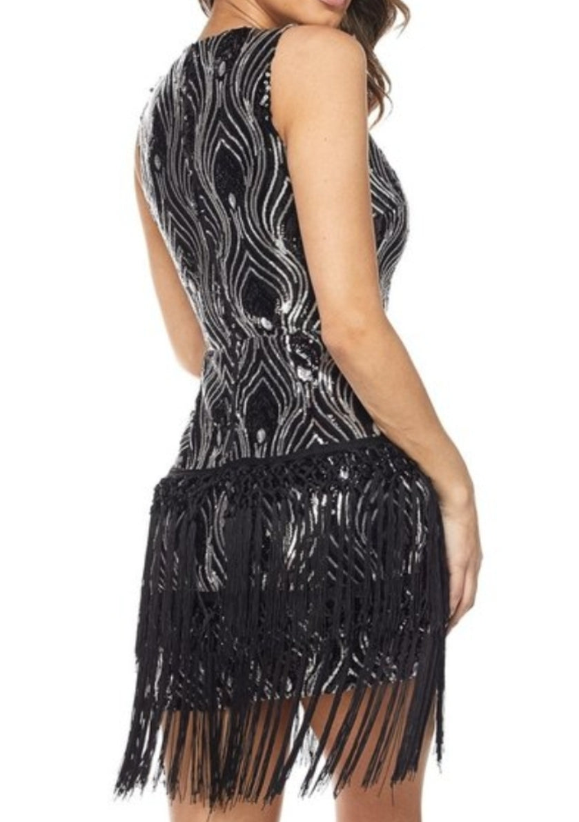 Black Fringe Flapper Dress | Fringe Flapper Dress