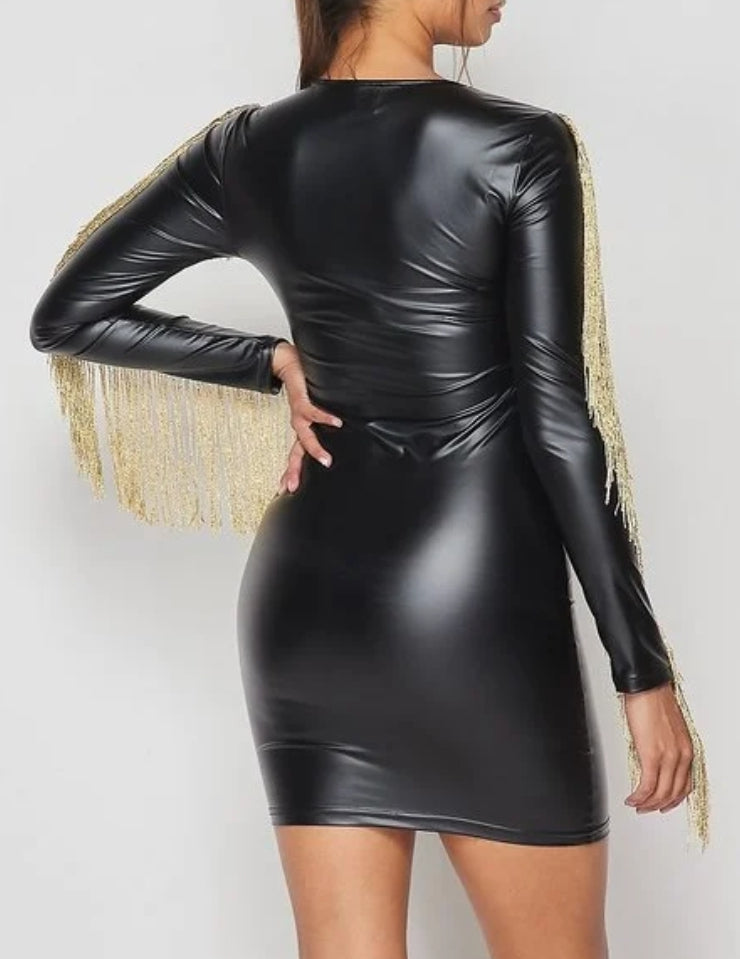 Leather and Gold Dress