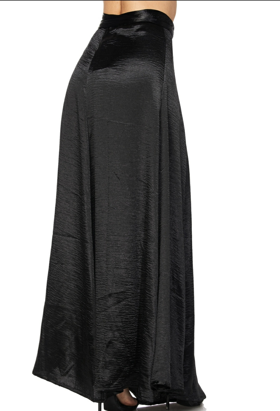 Black Long Satin Skirt