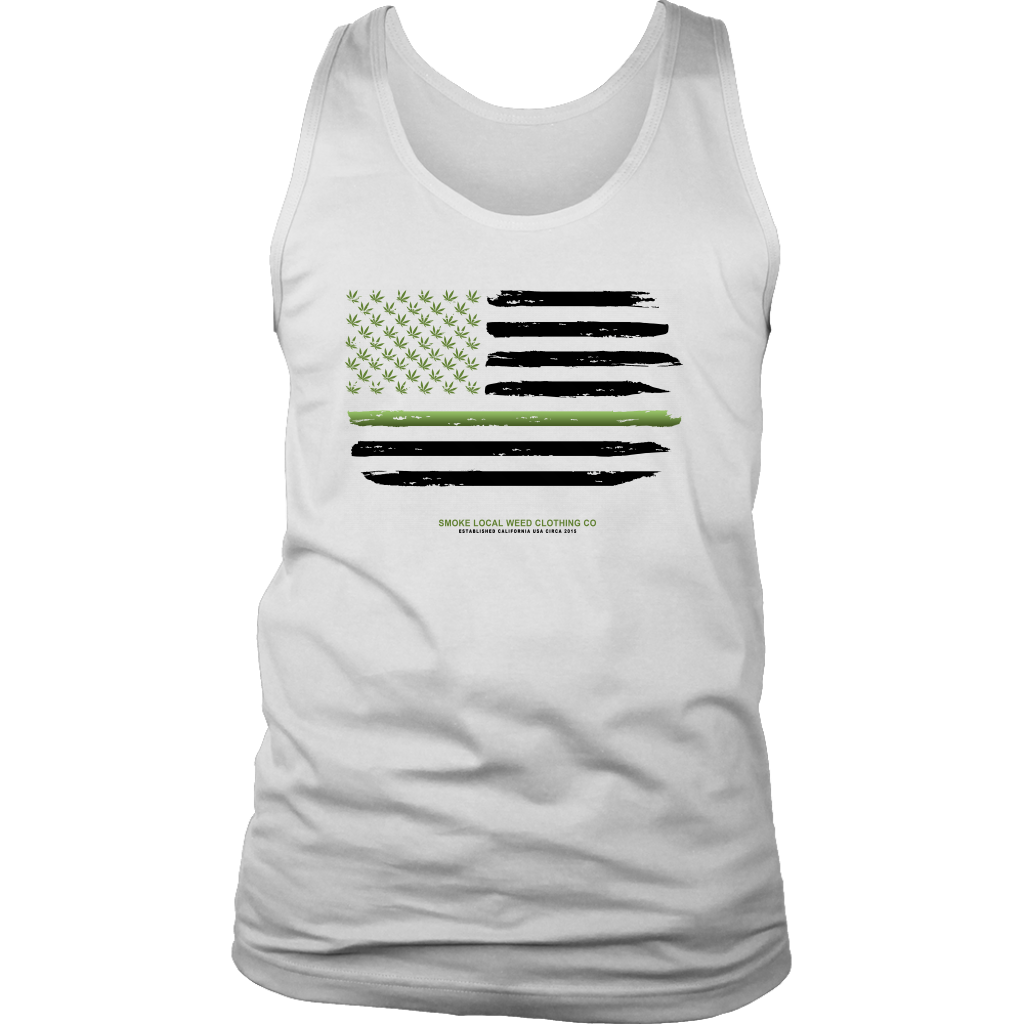 Thin Green Line Tank (White)