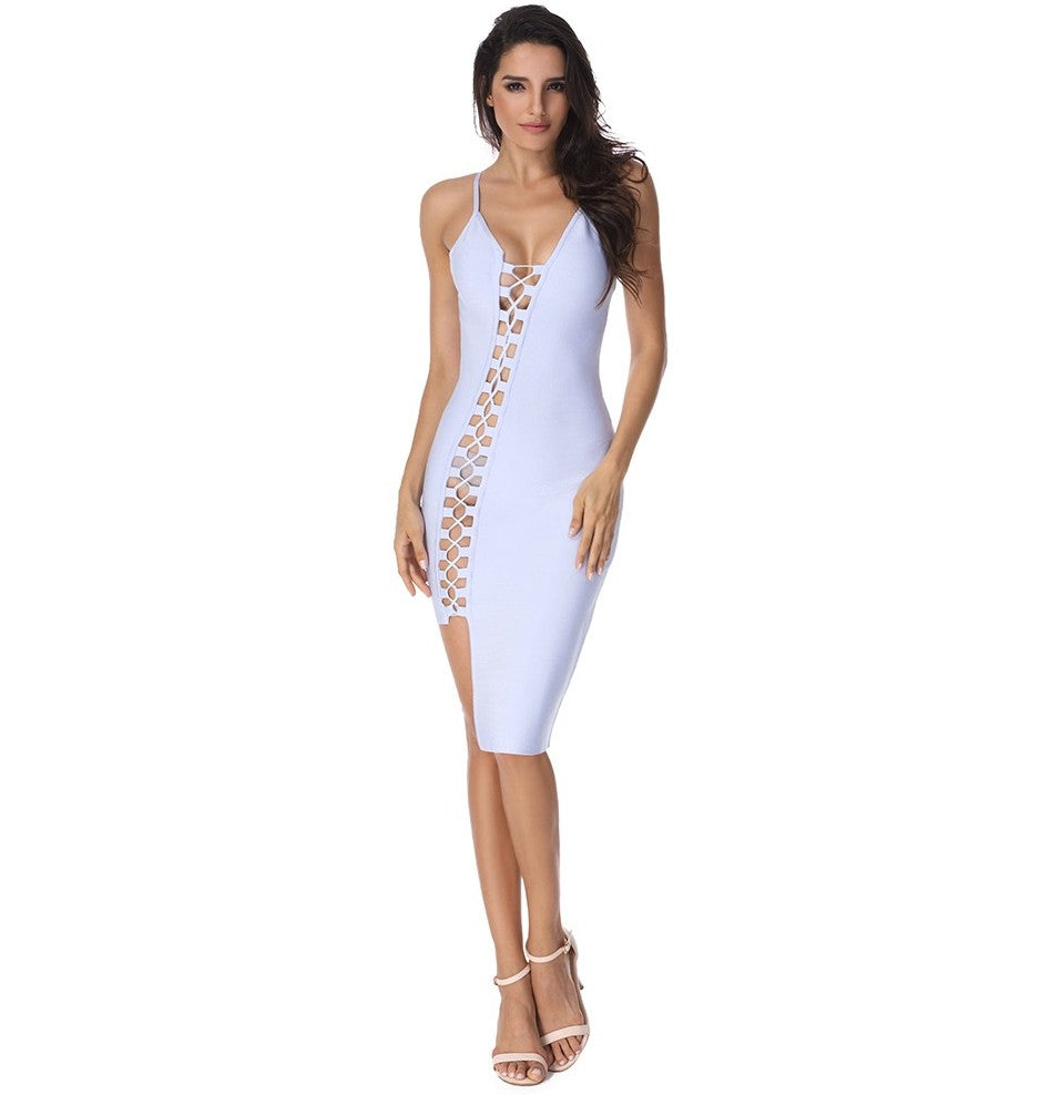 Jennifer Asymmetric Lace Up Dress