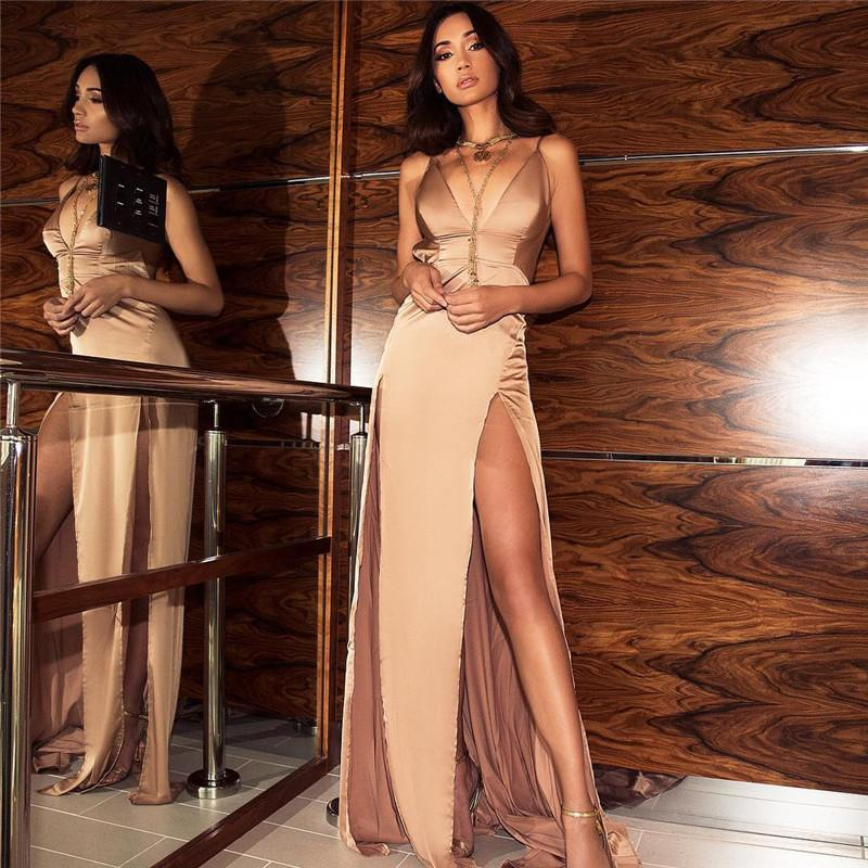Satin Diva Dress in Champagne