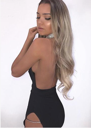 Those Sides Though Diamanté Choker Dress in Black
