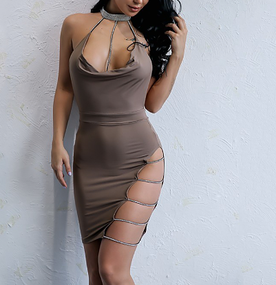 Those Sides Though Diamanté Choker Dress in Mocha