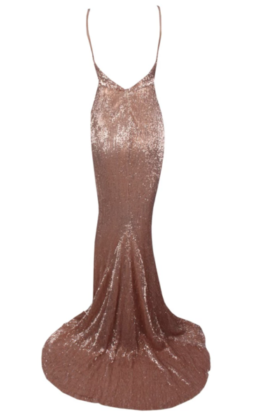 Turn-Heads Sequin Dress in Champagne