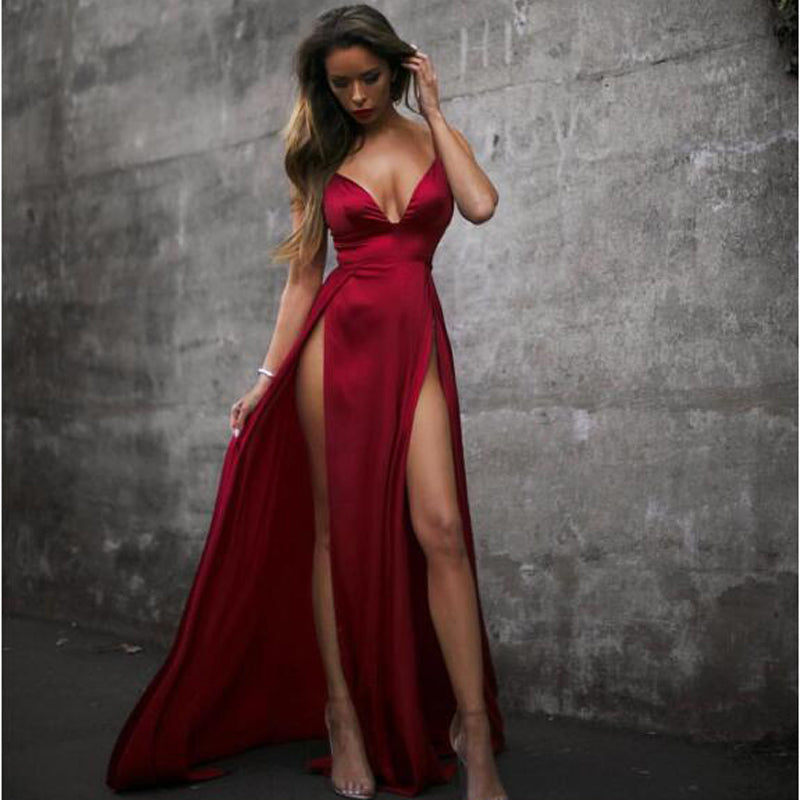 Satin Diva Dress in Red