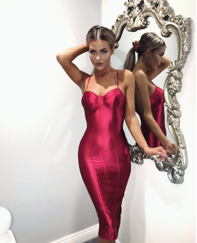 Red Satin Bustier Dress