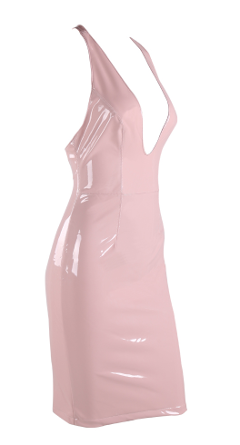 Shine On Vinyl Dress in Light Pink