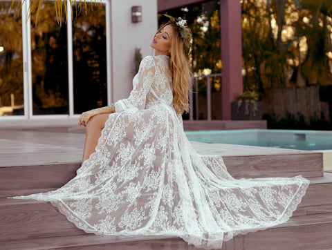 Bridal Robe Lace Swim Suit Cover Aporei