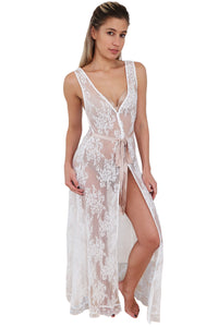 Sleeveless Lace Maxi Robe - White