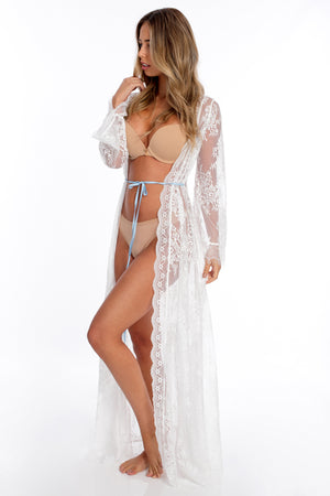 Sheer lace kimono for bride