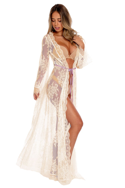Floral Lace Maxi Robe - Creme