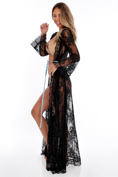 Floral Lace Maxi Robe - Black