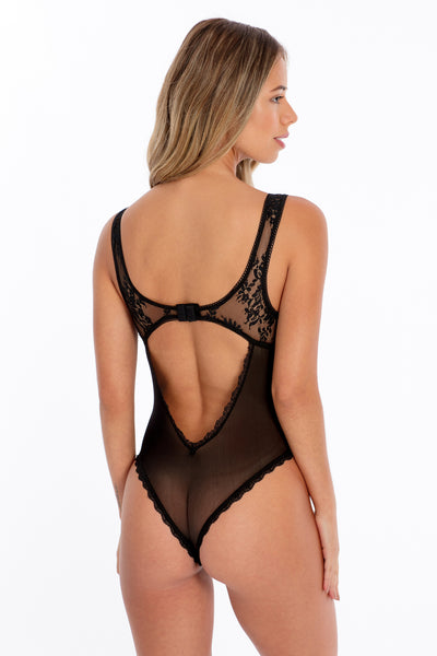 Corset Front Stretch Lace Teddy Bodysuit - Black