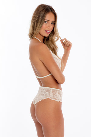 Floral Lace Halter & Cheeky Set- Ivory