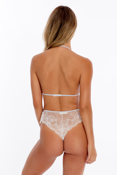Floral Lace Halter & Cheeky Set- White