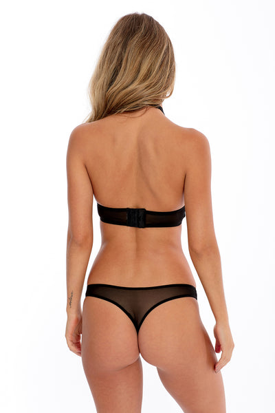 Lace Halter & Thong Set - Black