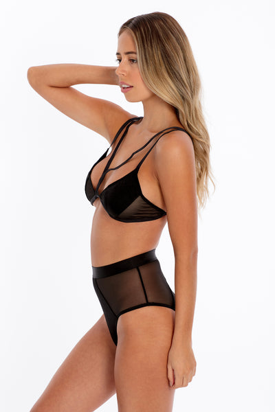 Paneled Bra & High-Waisted Set - Black