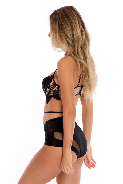 Lace Bralette & High-Waisted Set - Black