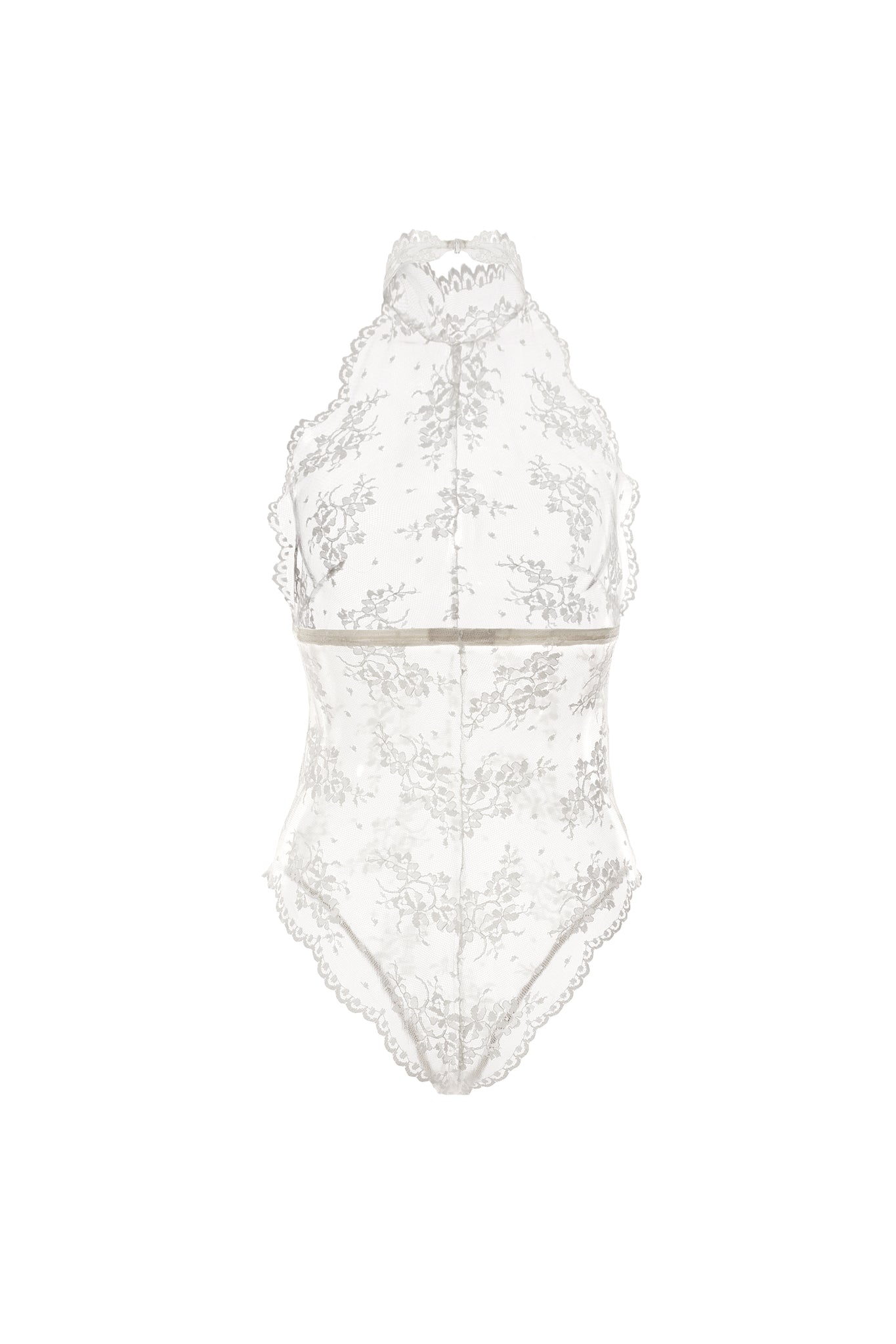 Scalloped Lace Halter Bodysuit- Ivory