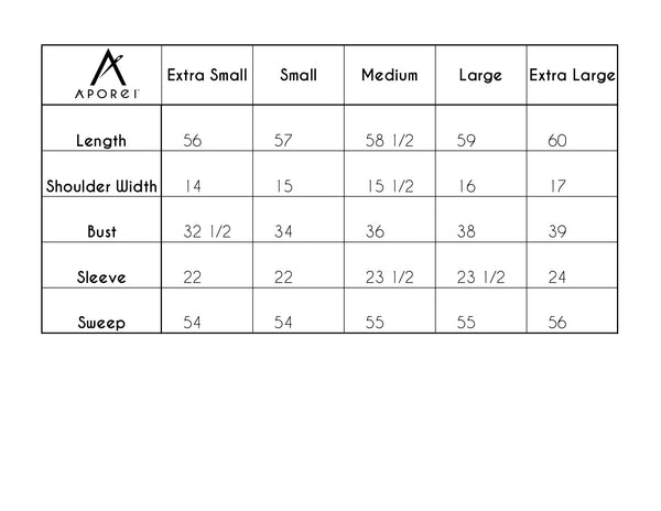 sizing chart for robe