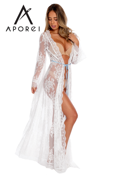 Floral Lace Maxi Robe - White