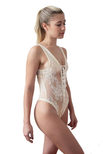 Corset Front Stretch Lace Teddy Bodysuit - Ivory
