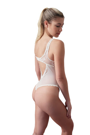 back of bridal lace teddy bodysuit
