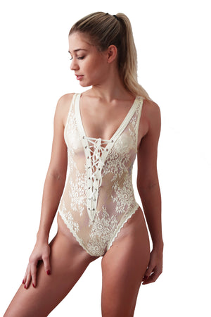 Front lace bridal teddy for bridal shower gift