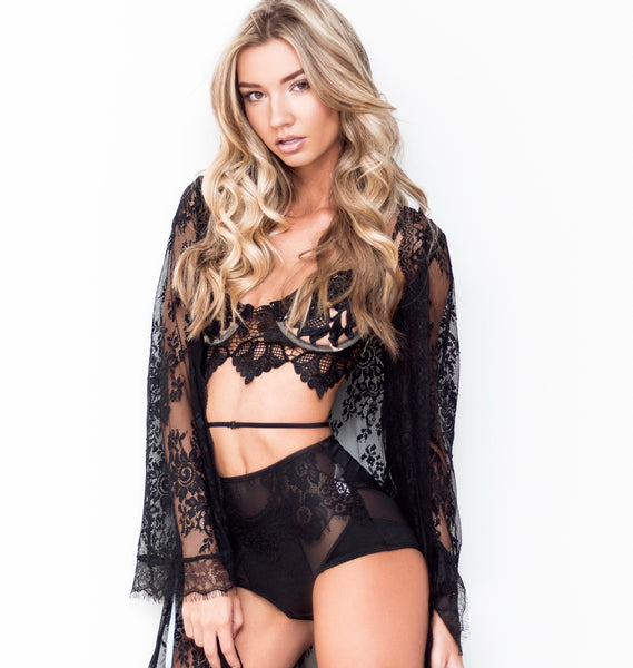 fbd77b604e black lace swim suit cover. lingerie coverup robe for woman. sexy robe for  boudoir