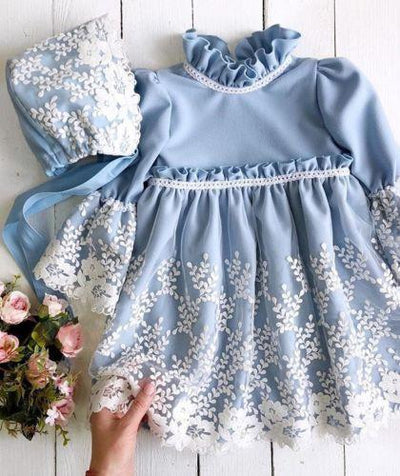 Blue Flare Sleeves Dress - Little Palace Store