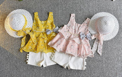 Bowtique Floral and Pearls Set - Priority Shipping Clothing Sets Little Palace Store